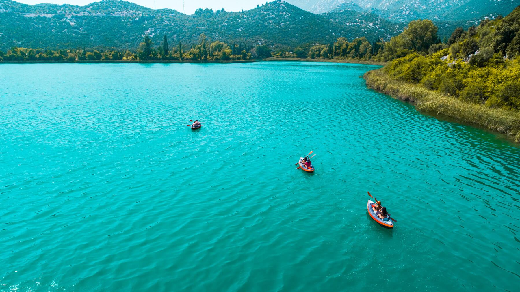 drone-view-on-kayakers-on-bacina-lakes