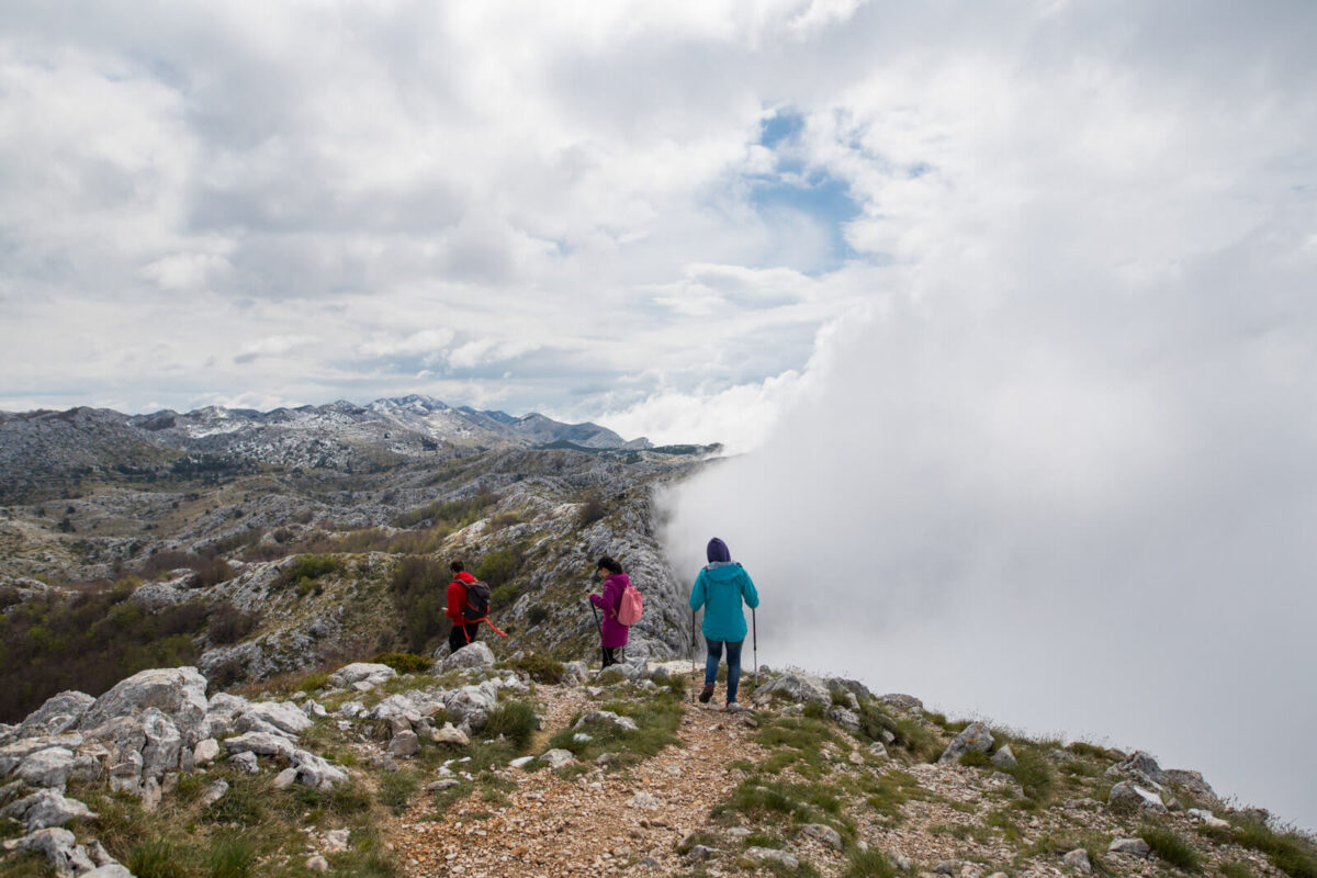 hikers in biokovo nature park in croatia