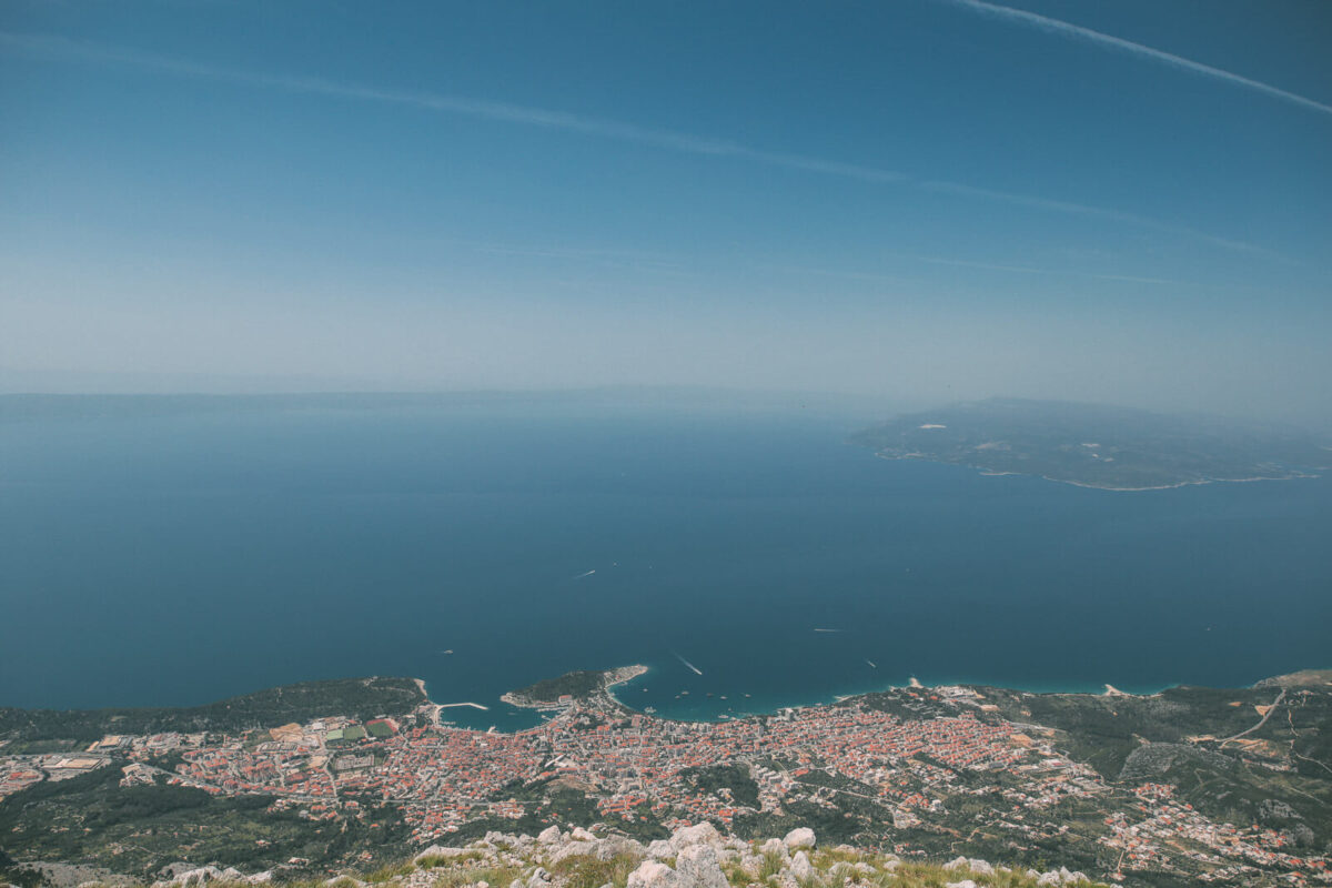 view from the vosac peak above makarska in croatia