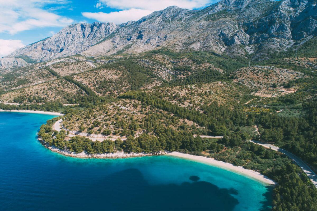 deatail of the duba beach on makarska riviera near drvenik in croatia
